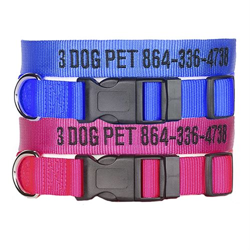 """3 Dog Pet Supply 1"""" Wide Personalized Dog Collar Combo - 2"""